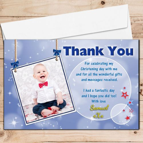10 Personalised Christening / Baptism Thank you PHOTO Cards N232 - Blue Sparkle